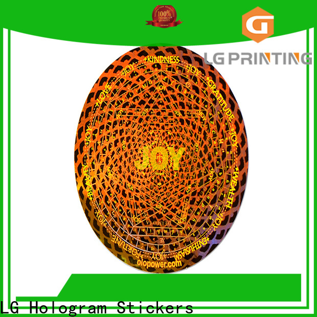 LG Printing golden clear holographic sticker paper vendor for garment hangtag