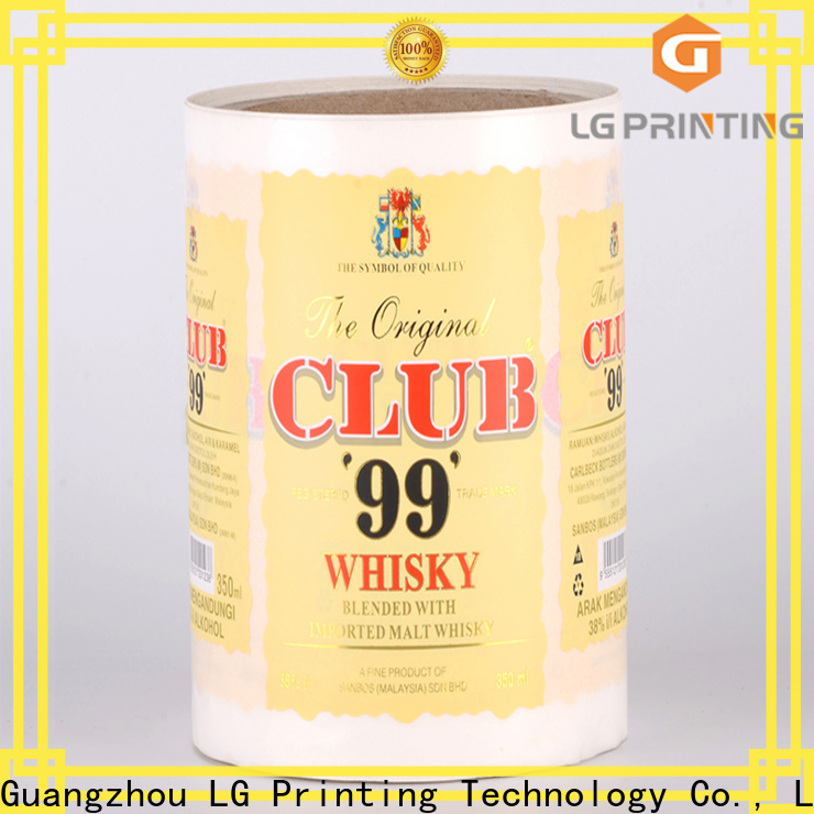 LG Printing gold water bottle wrap labels supply for jars