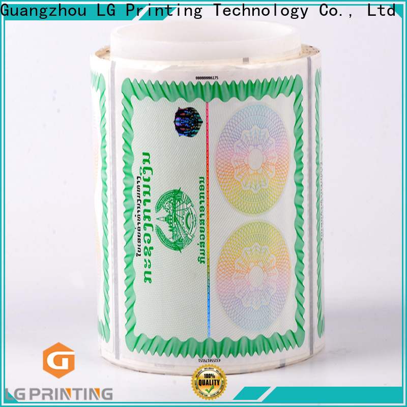 LG Printing security tamper evident hologram stickers company for box