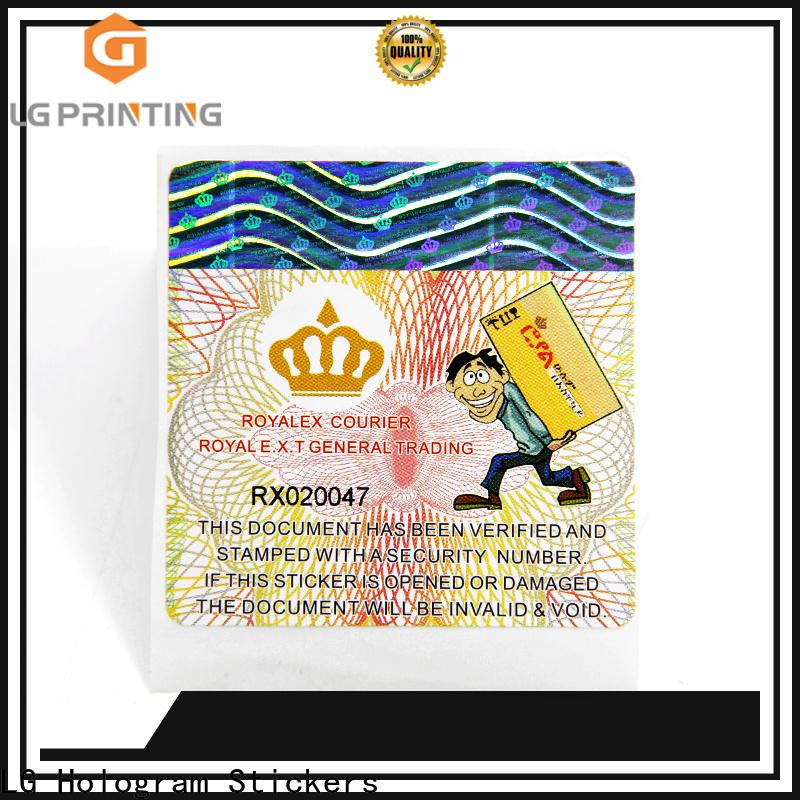 LG Printing Quality 3d hologram labels for goods