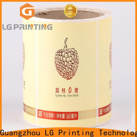 LG Printing foil plastic stickers wholesale for cans