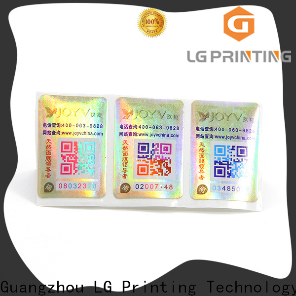 LG Printing Bulk custom hologram labels factory for bottles