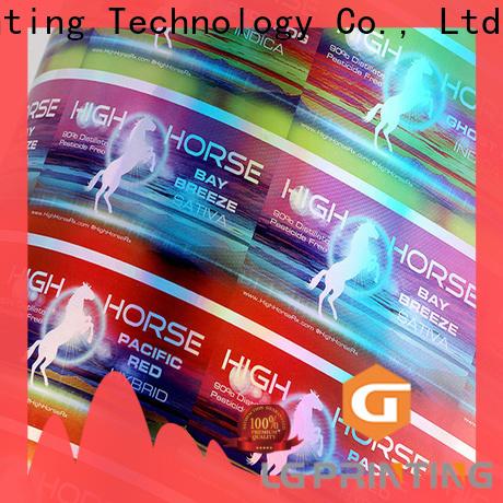 LG Printing Custom transparent hologram stickers price for plastic box surface