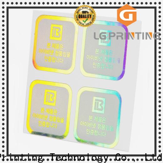 LG Printing laser hologram sticker manufacturers for metal box surface