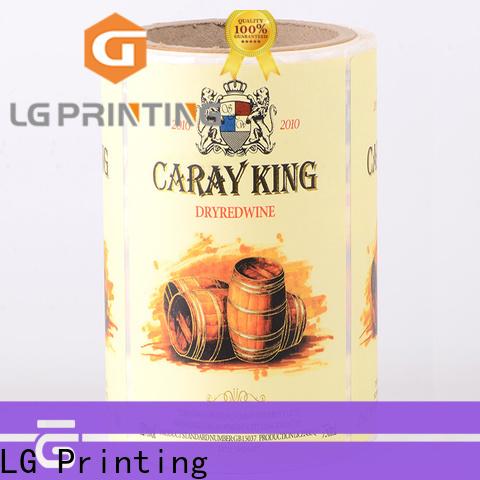 LG Printing pvc bag labels price for bottle