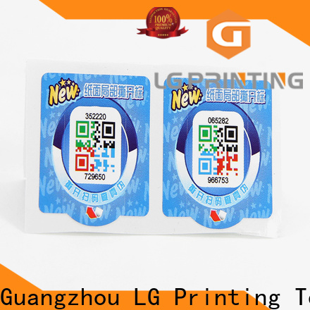 LG Printing Customized anti counterfeit sticker company for goods