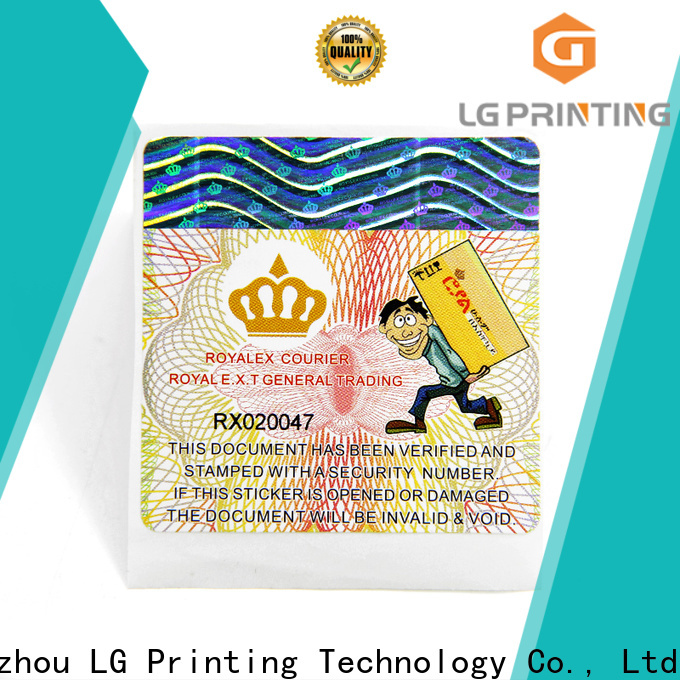LG Printing Professional 3d hologram sticker company for products