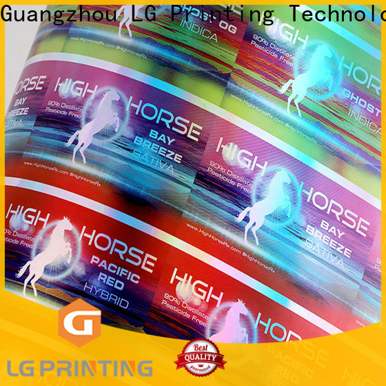 LG Printing custom holographic decals company for plastic box surface