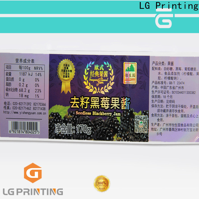 LG Printing clear holographic stickers company for package