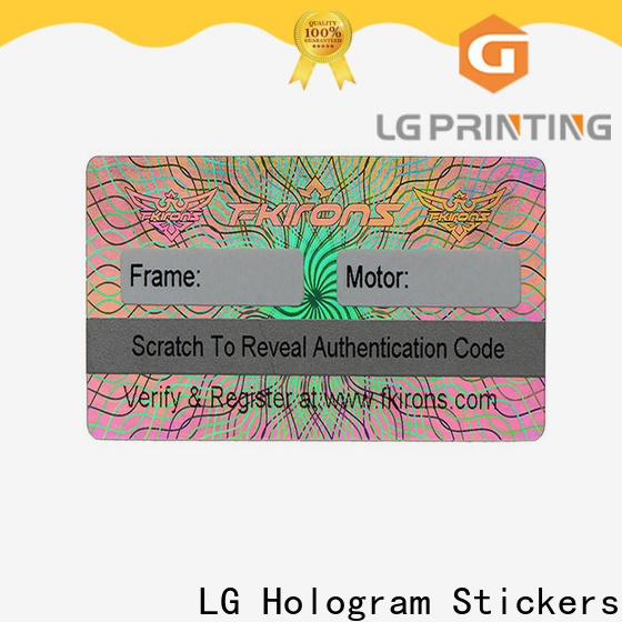 LG Printing off hologram supplier wholesale for garment hangtag