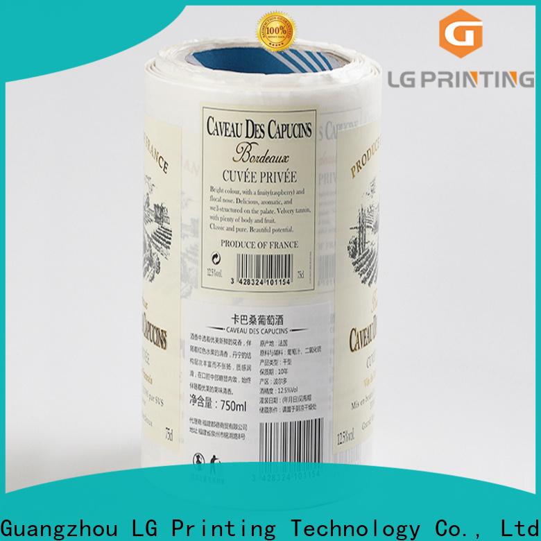 LG Printing gold bottle label company wholesale for wine bottle