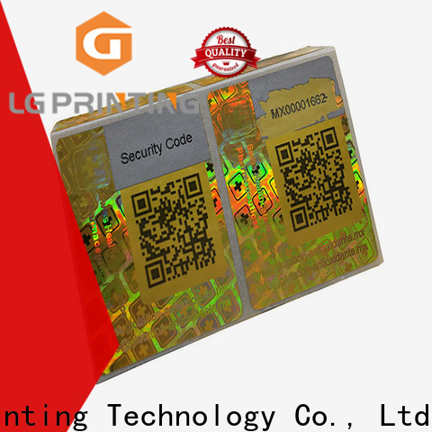 LG Printing golden numbered hologram stickers supply for garment hangtag