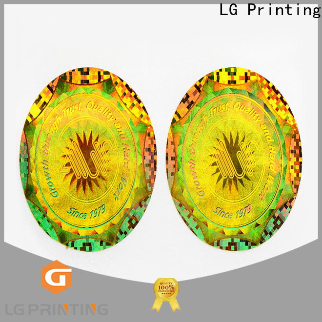 LG Printing Customized custom hologram stickers suppliers for garment hangtag