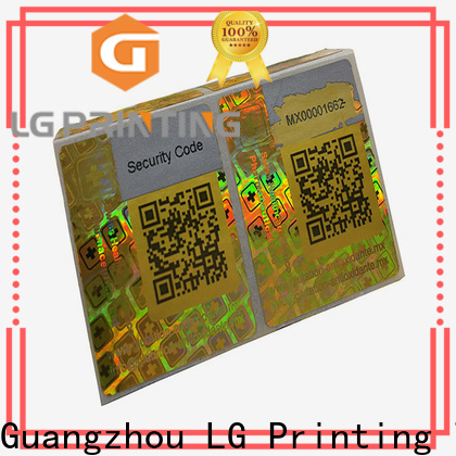 LG Printing one time custom hologram labels factory for skin care products