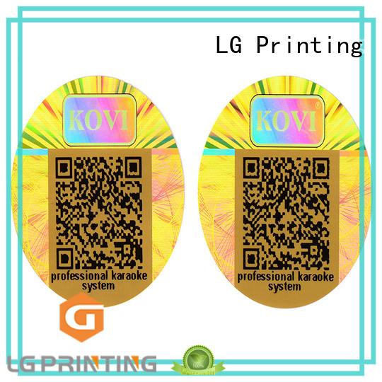 label Custom transparent security hologram sticker LG Printing printing