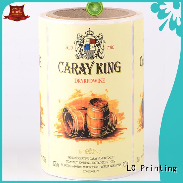LG Printing metallic custom product labels supplier for bottle