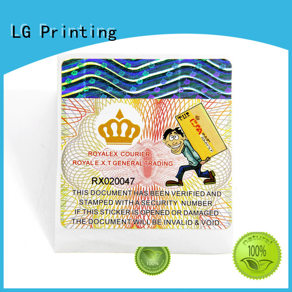 LG Printing Top hologram label for business for box