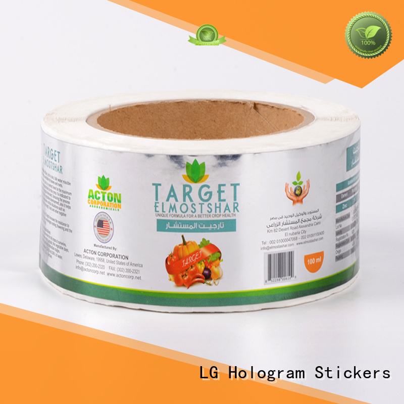 LG Printing printing custom packaging stickers manufacturer for jars