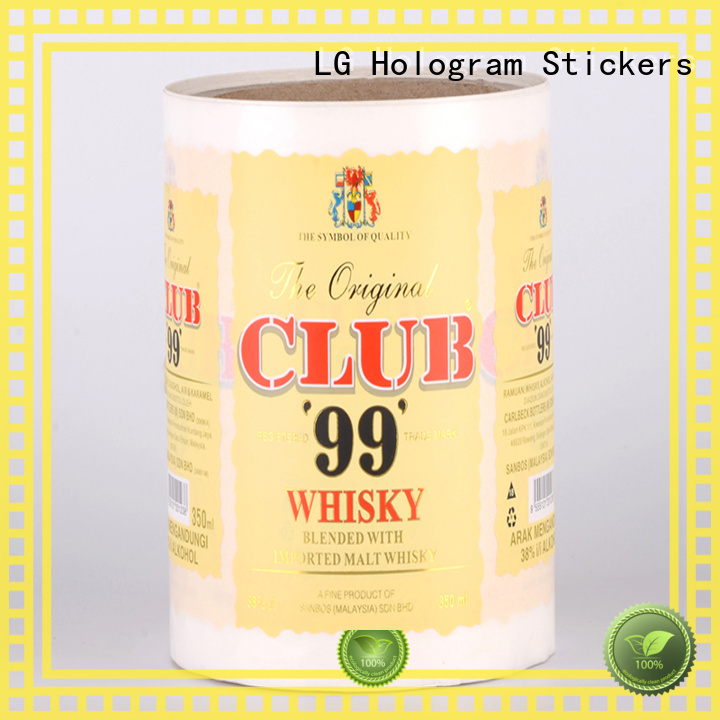 LG Printing Brand transparent pvc logo adhesive labels roll factory