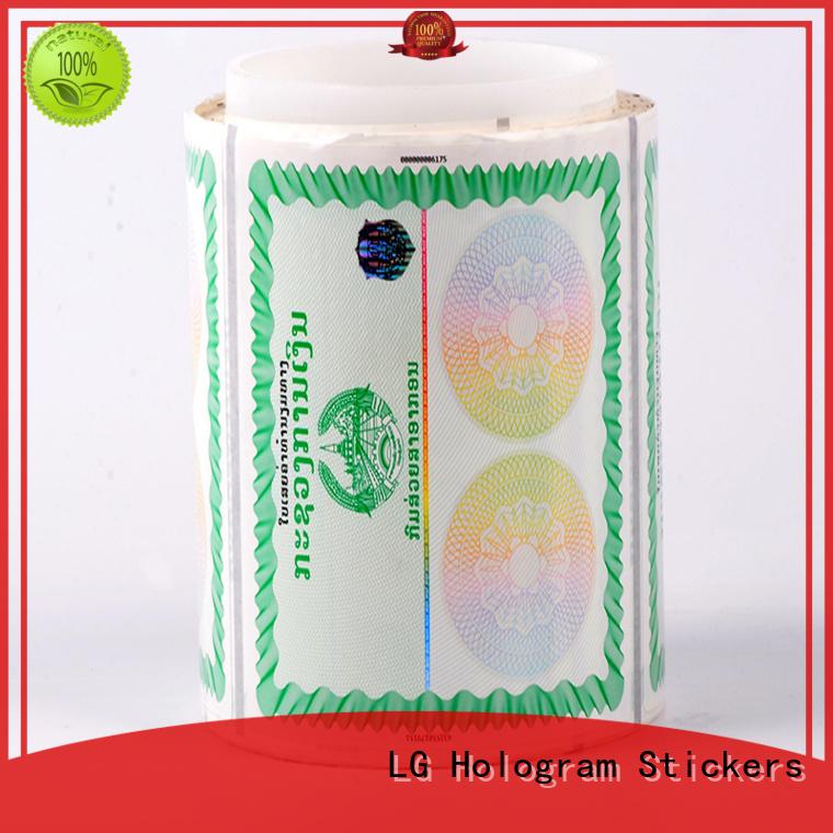 Wholesale printing sticker stickers security hologram LG Printing Brand