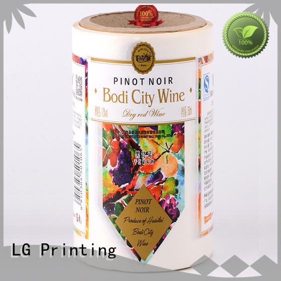 LG Printing gold vinyl labels for bottles supplier for wine bottle