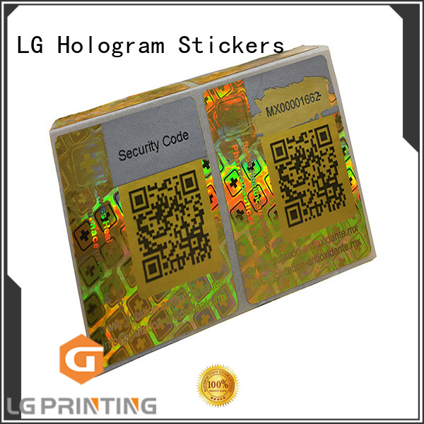 one time personalised holographic stickers numbering for box LG Printing