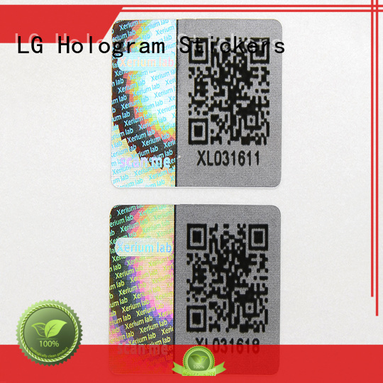 custom shape label qr code OEM hologram sticker LG Printing