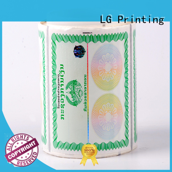 LG Printing positioned anti counterfeit label sticker for products