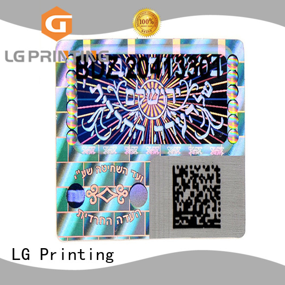 LG Printing gold hologram stickers logo for table