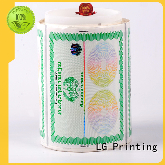 LG Printing serial clear security stickers manufacturer for products