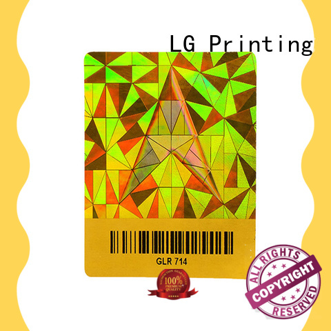 LG Printing colorful wholesale hologram sticker printing supplier for box