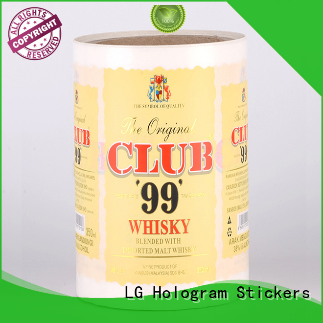 LG Printing gold adhesive labels factory for wine bottle