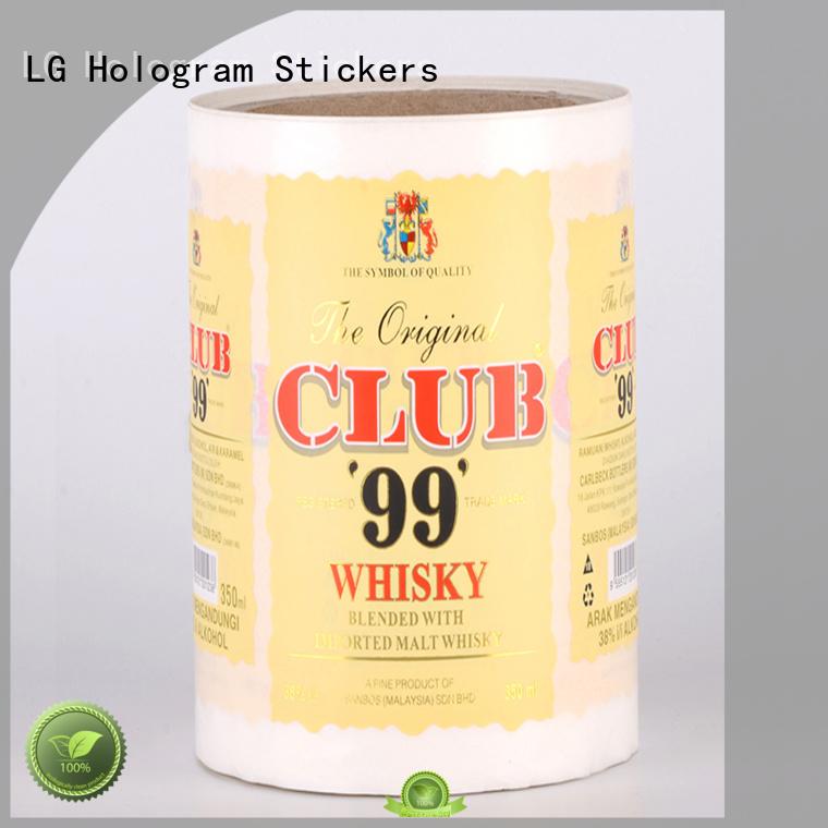LG Printing Brand waterproof quality wine custom self adhesive label