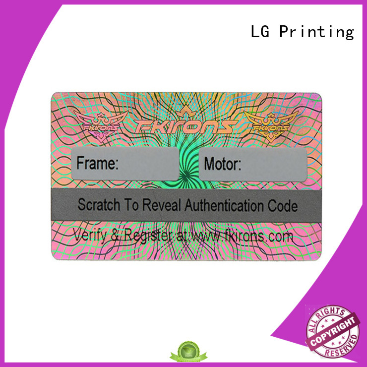 LG Printing serial stickers holographique manufacturer for box