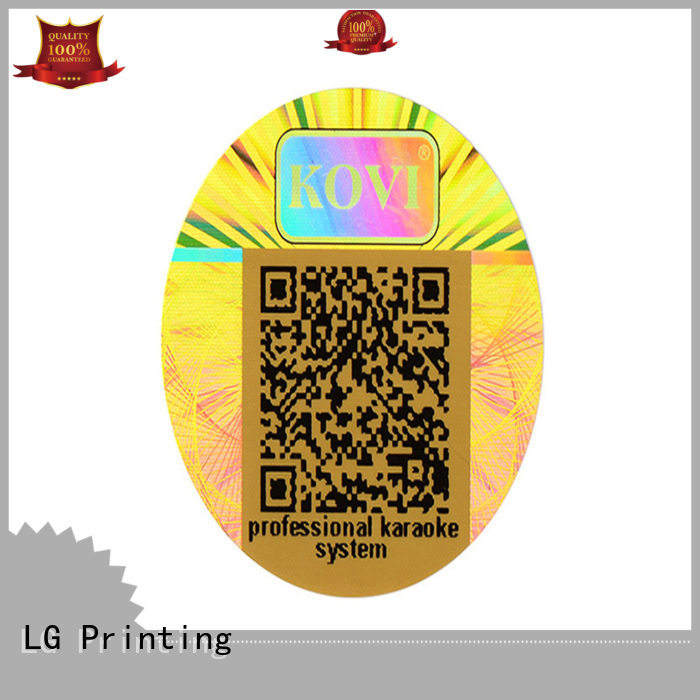LG Printing colorful holographic sticker custom barcode for door