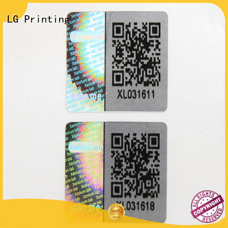 customized thickness triangle hologram sticker qr code LG Printing