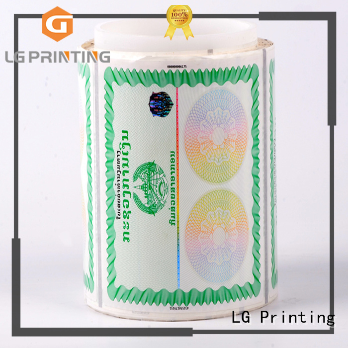 LG Printing standard security alarm stickers series for products