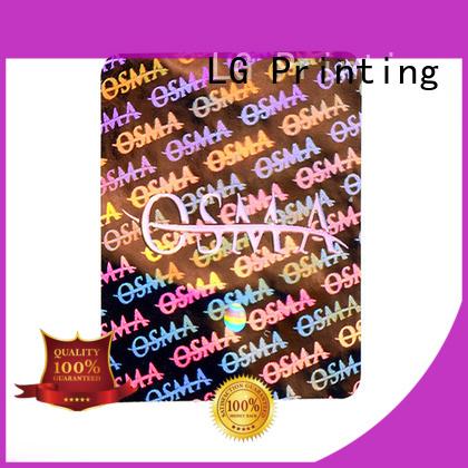 LG Printing retangle holo stickers supplier for box