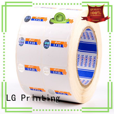 LG Printing stamping security company stickers silver for products