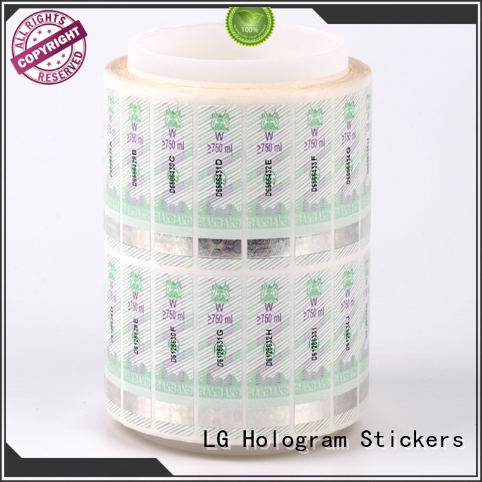 LG Printing counterfeiting printable security stickers PVC for bag