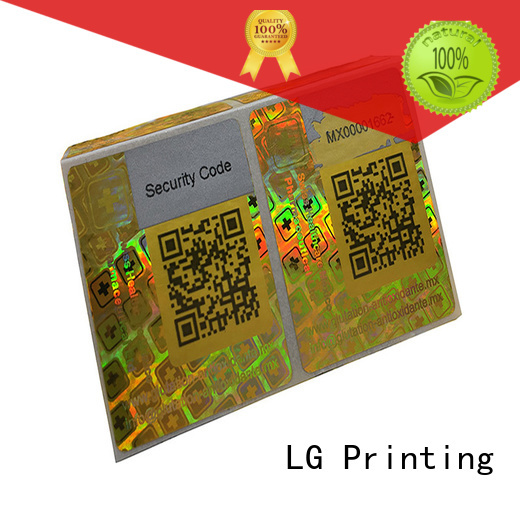LG Printing golden holo stickers logo for table