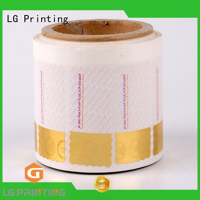 LG Printing silver custom hologram labels factory for bag