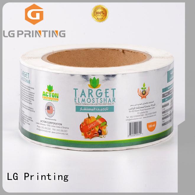 LG Printing gold bag labels manufacturer for bottle