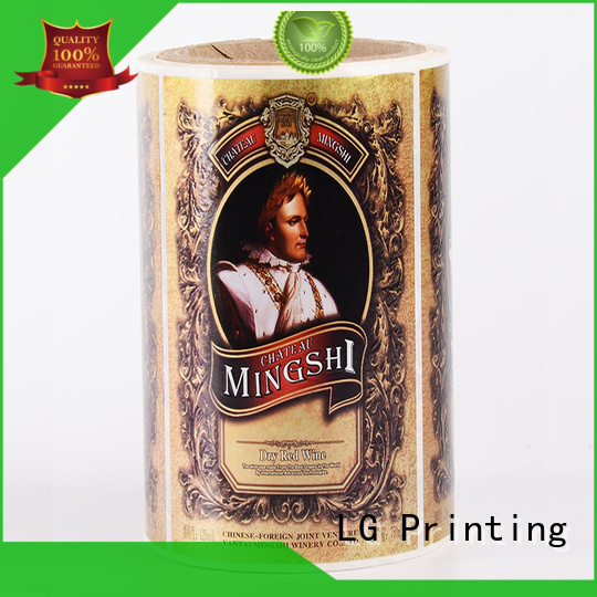 Hot foil adhesive labels quality red LG Printing Brand
