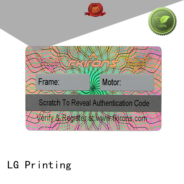 LG Printing authentic security sticker printing supplier for door