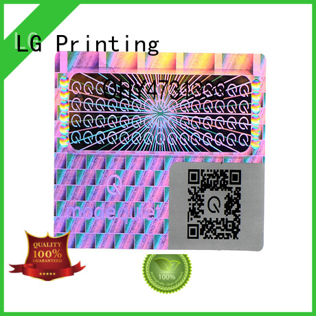 LG Printing round hologram sticker printing barcode for table