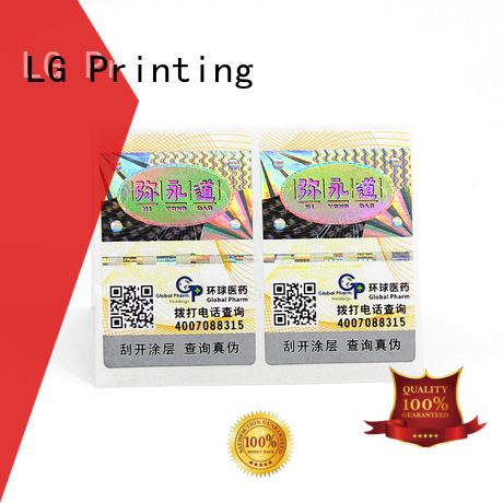 LG Printing Custom water proof labels factory for bag