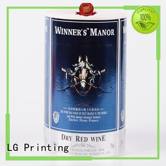 LG Printing bopp vinyl stickers for bottles manufacturer for wine bottle