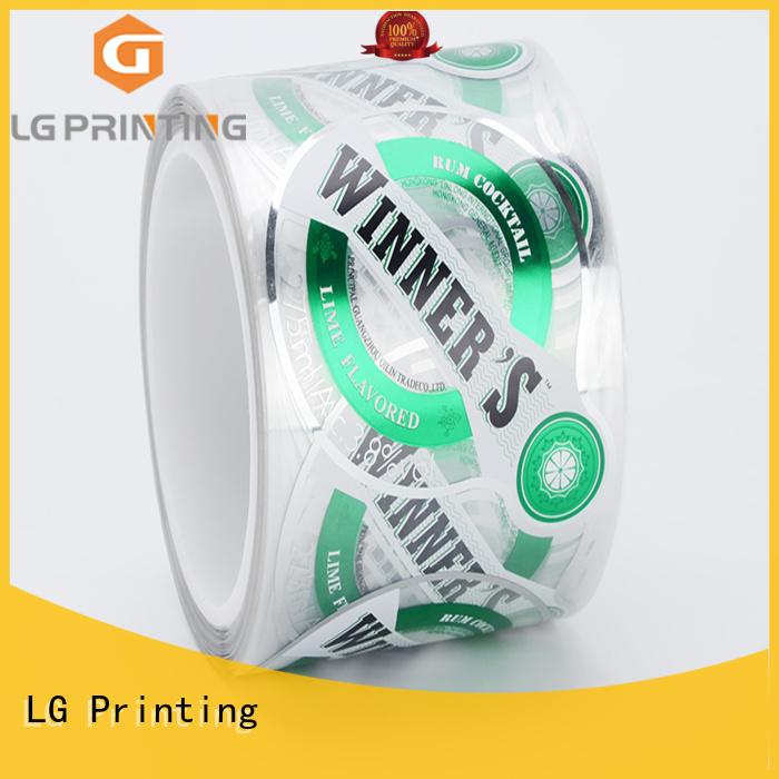 LG Printing transparent custom labels series for bottle